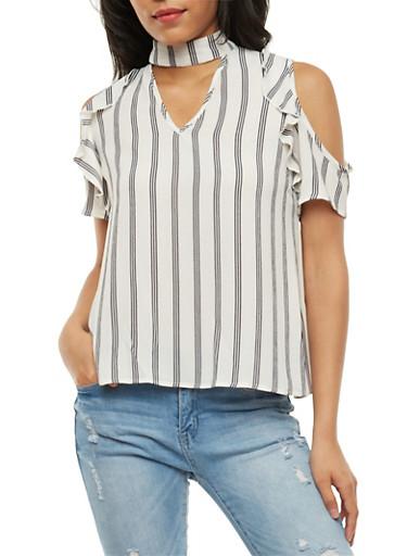 Striped Cold Shoulder Choker Top,WHT-BLK,large
