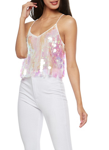 Sequin Lined Cropped Tank Top,WHITE,large