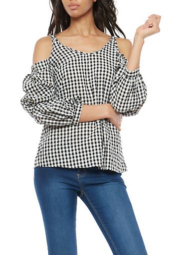 Gingham Cold Shoulder Tie Sleeve Top,BLACK/WHT,large