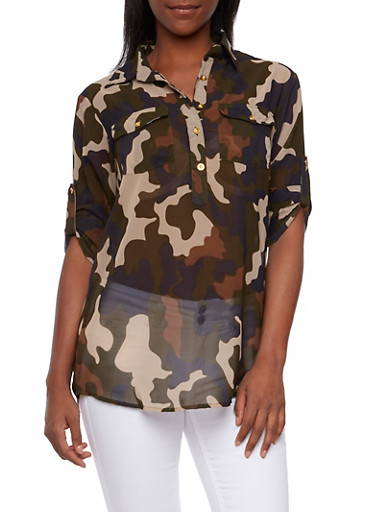 Camo Print Blouse with Button Front,OLIVE/BROWN,large