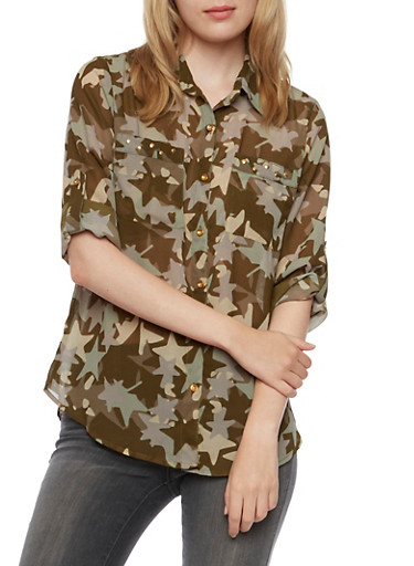 Button Front Shirt in Camo Print,OLIVE,large