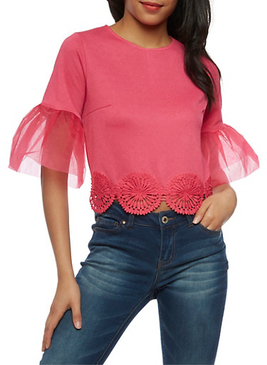 Organza Bell Sleeve Crop Top with Applique Trim,FUCHSIA,large