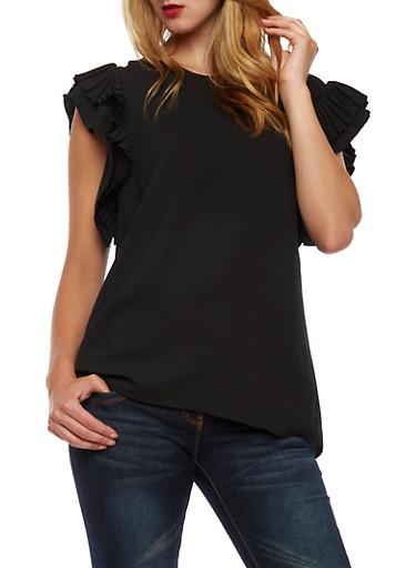 Pleated Cap Sleeves Blouse,BLACK,large