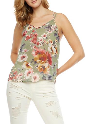 Sleeveless Floral Print Top,SAGE,large