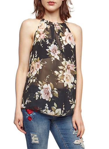 Sleeveless Floral Print Top,BLACK,large
