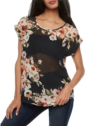 Short Sleeve Floral Blouse,BLACK,large