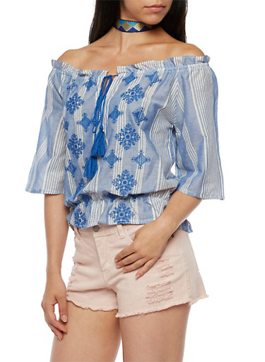 Off the Shoulder Stripe Embroidered Top,BLUE/WHT,large