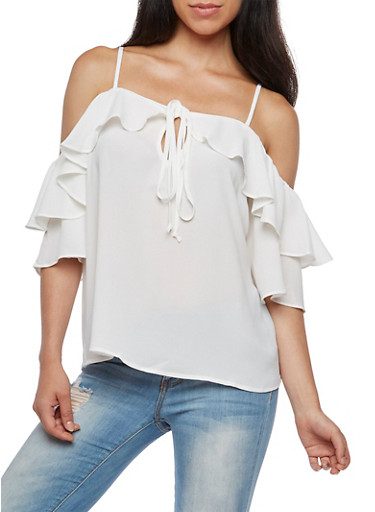 Cold Shoulder Solid Ruffled Sleeve Blouse,IVORY,large
