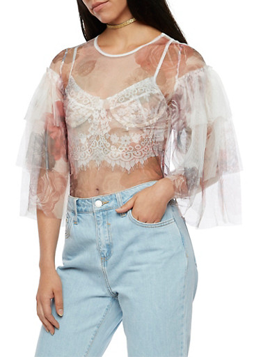 Floral Tulle Top with Tiered Sleeves,WHITE,large