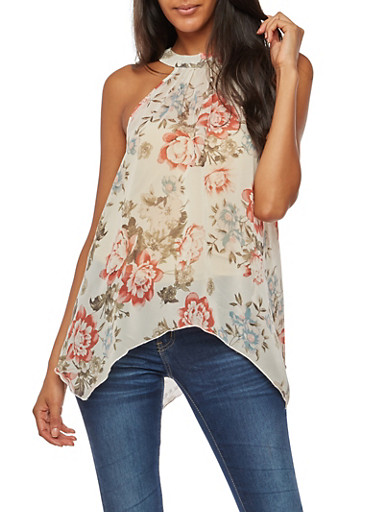 Floral Sleeveless Top,IVORY,large