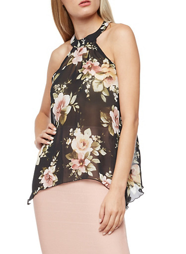 Sleeveless Floral Sheer Asymmetrical Top,BLACK,large