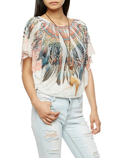 Short Sleeve Feather Print Top with Necklace,WHITE,large