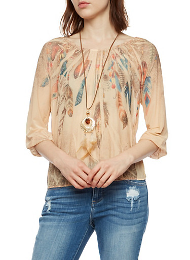 Feather Print Mesh Long Sleeve Top at Rainbow Shops in Daytona Beach, FL | Tuggl