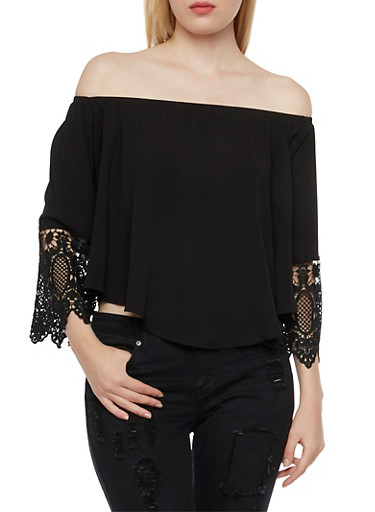 Off the Shoulder Top with Crochet Trim Sleeves,BLACK,large