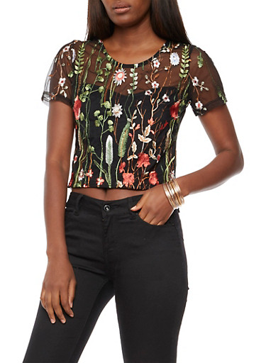 Floral Embroidered Mesh Top,BLACK,large