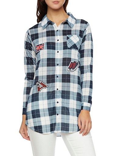 Plaid Tunic Top with Patches,NAVY,large