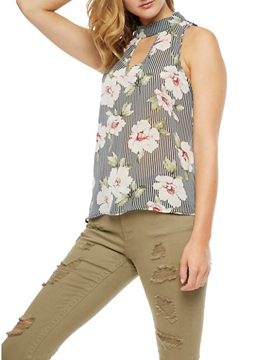 Sleeveless Printed Keyhole Top,GRAY,large