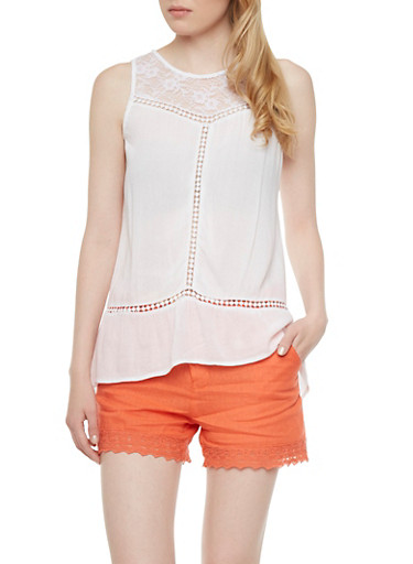 Lace Yoke Tank Top with Pom Pom Trim,WHITE,large