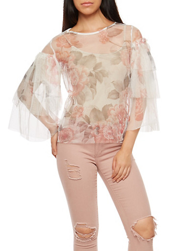 Tiered Sleeve Floral Print Mesh Top,BLUSH,large