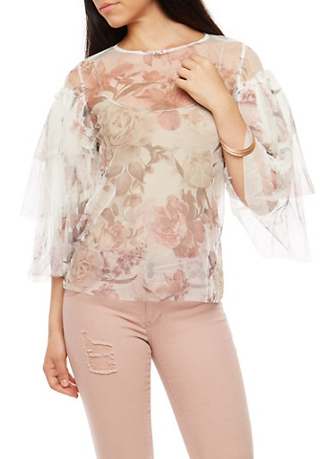 Tier Sleeve Mesh Rose Print Top,IVY/MAUVE,large