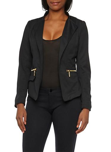 Asymmetrical Ponte Blazer with Zipper Pockets,BLACK,large