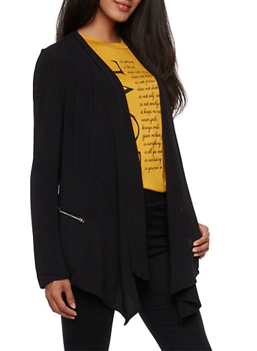 Textured Knit Open Front Jacket,BLACK,large