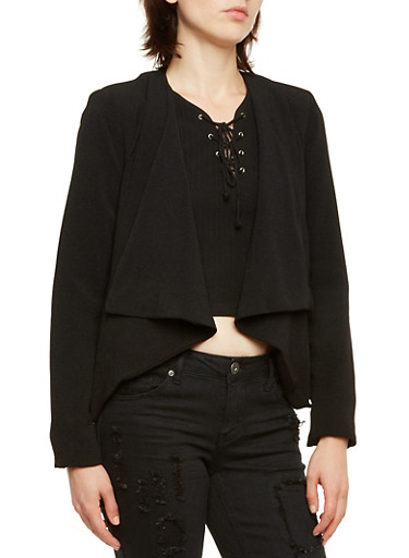 Asymmetrical Blazer with Zipper Pockets,BLACK,large