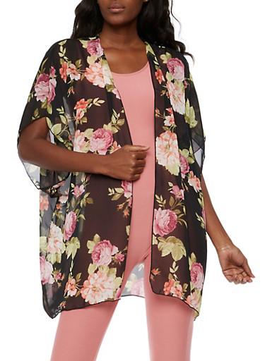 Floral Short Sleeve Kimono,BLACK /MAUVE,large