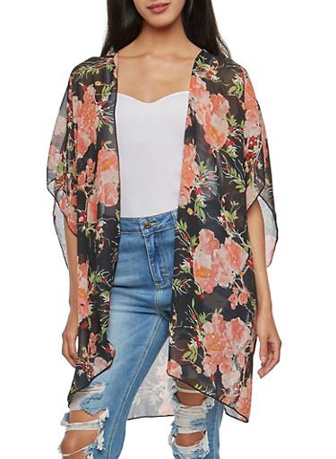 Large Floral Chiffon Kimono,BLAC/BLUSH,large