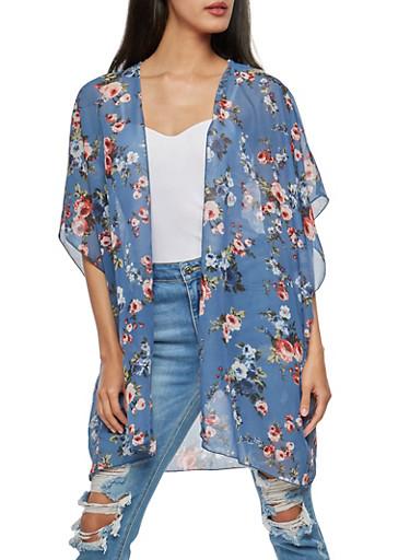Rose Print Kimono,DENIM,large
