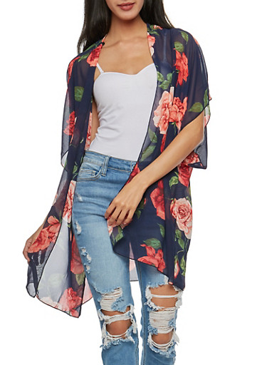 Large Rose Chiffon Kimono,NAVY,large