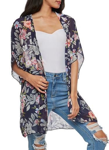 Large Floral Print Chiffon Kimono,NAVY,large