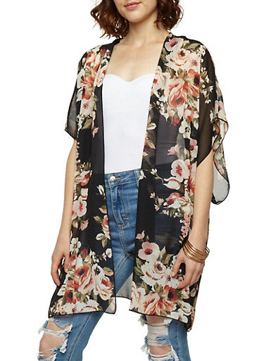 Floral Chiffon Kimono,BLACK/MAUVE,large