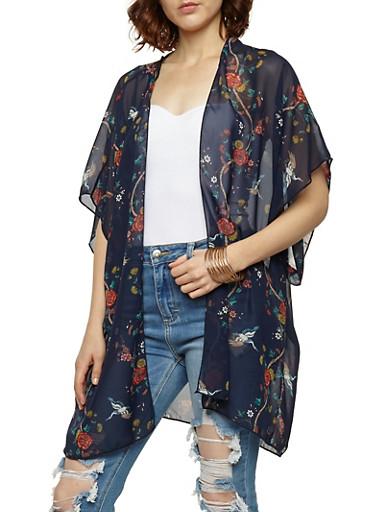 Floral Bird Print Kimono,NAVY/CORAL,large