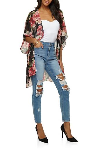 Rose Chiffon Kimono,BLAC/GARNET,large