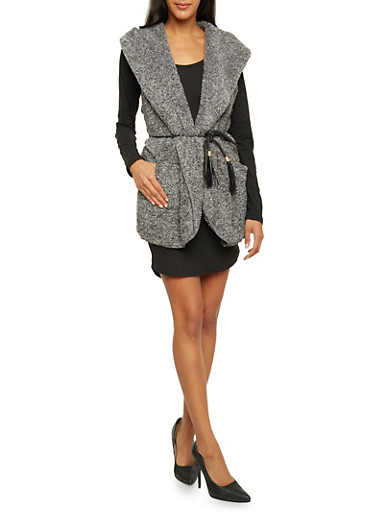Faux Fur Hooded Vest with Braided Belt,GRAY,large