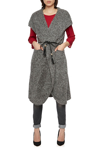 Faux Fur Maxi Vest with Hood and Braided Belt,GRAY,large