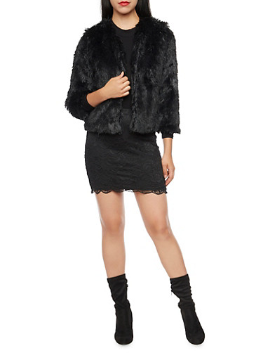 Plush Faux Fur Jacket with Open Front,BLACK,large