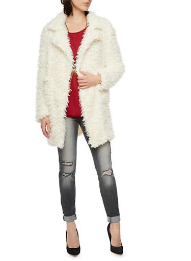 Faux Fur Jacket,IVORY,large
