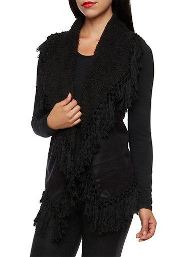 Faux Suede Vest with Knotted Fringe,BLACK,large