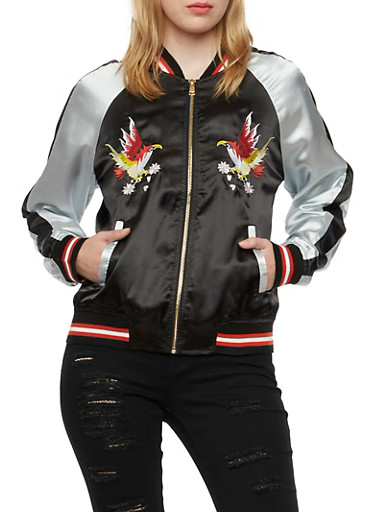 Color Block Bomber Jacket with Bird Embroidery,BLACK,large