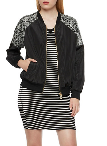 Bomber Jacket with Lace Raglan Sleeve Insets,BLACK,large