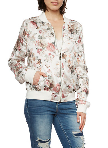 Floral Satin Bomber Jacket with Ruching,IVORY,large