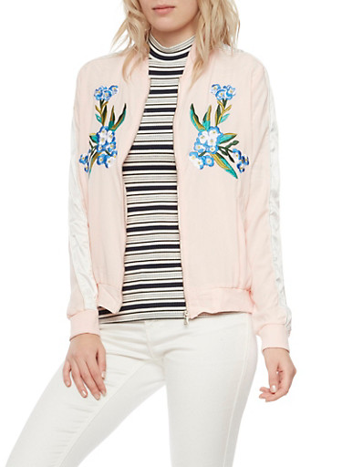 Embroidered Bomber Jacket,PINK/WHT,large
