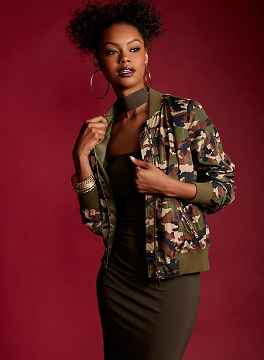 Camo Print Bomber Jacket with Box Pleated Sleeves,OLIVE,large