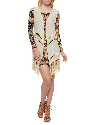 Embroidered Vest with Crochet Fringe Trim,BEIGE,large