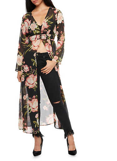 Buttoned Floral Maxi Kimono,BLACK,large