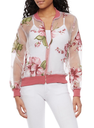 Sheer Bomber Jacket with Floral Print,PEACH,large