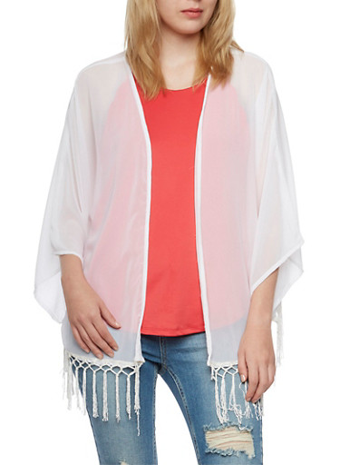 Semi Sheer Kimono with Knotted Fringe,WHITE,large
