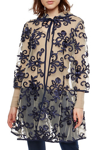 Mesh Cape with Stitched Floral Ribbon Detail,MOCHA/NAVY,large